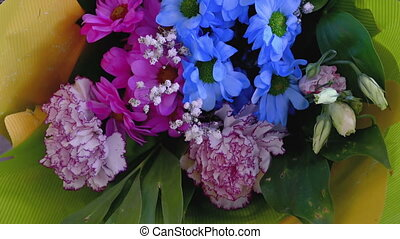 flowers - bouquet of blue flowers close-up of 4K