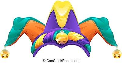 Fools cap with bells. Jester cap. 1 April Fools Day....