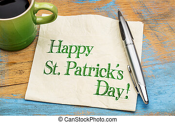 Happy St Patrick Day on napkin - Happy St Patrick's Day -...