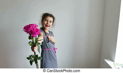 girl and rose flowers - happy girl teen gives roses flowers