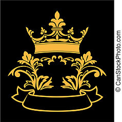 Heraldic crown with elements for design and decorate