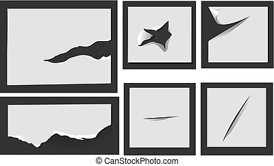 Torn paper with holes - Elements of torn paper with holes...