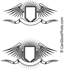 Heraldic emblems - Heraldic blazons with wings and ribbons...