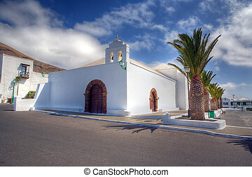 A white church in Femes, Lanzarote