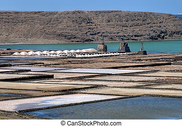 Salt-pans at Lanzarote - Salt Pants Janubio at Lanzarote,...