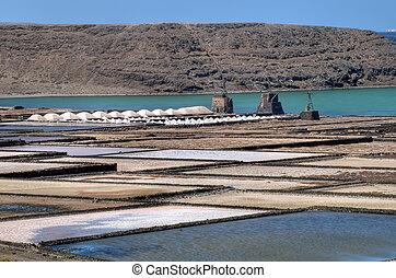Salt-pans at Lanzarote - Salt Pants Janubio at Lanzarote,...