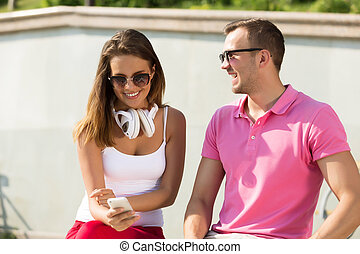 Beautiful couple spending weekend outdoors - Young happy...