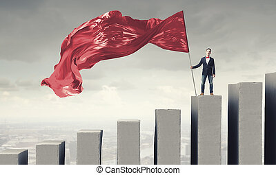 Man with red waving flag - Student guy in casual with red...