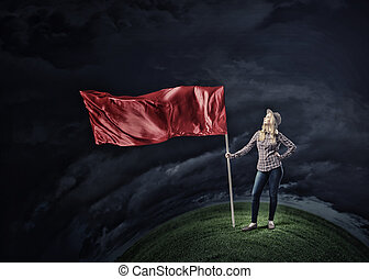 Woman with red waving flag - Student girl in casual with red...