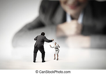 Business fight as competion concept - Young woman looking...