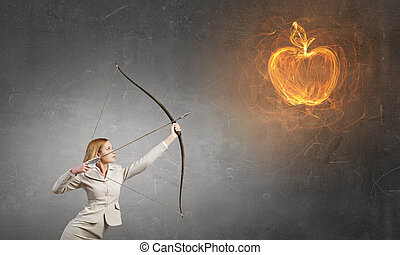 Woman aiming her goal - Young woman archer in suit aiming to...