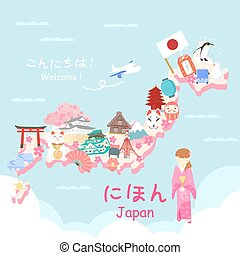 cute cartoon japan element -welcome on upper left in...