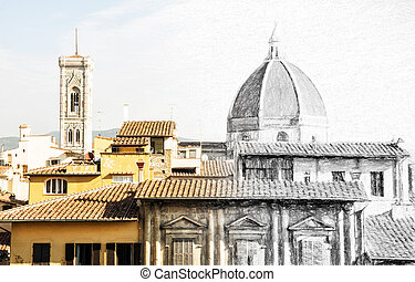 From sketch to the Florence city - Cathedral Santa Maria del...