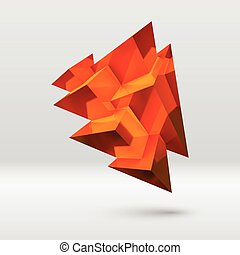 Abstract copper crystal with overlapping pyramids