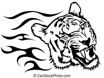 Tiger Head with Flames - Black and White Drawing...