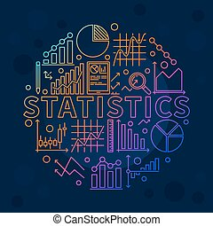 Bright statistics illustration - vector data analysis with...