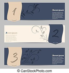 Cool slate blue banners with ribbons and floral elements