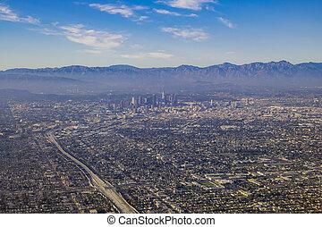 grande, aéreo,  Área,  Angeles,  Los, vista