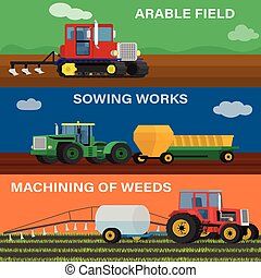 Farming horizontal banner vector set of agricultural...