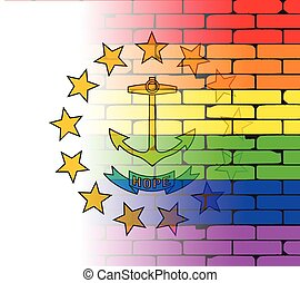 Rainbow Wall Rhode Island - A well worn wall painted with a...