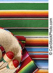 Mexican serape blanket with sombrero