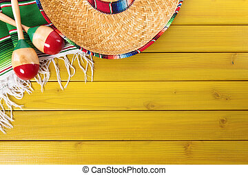 Mexican background with copyspace - Mexican sombrero,...