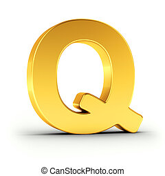 The letter Q as a polished golden object with clipping path