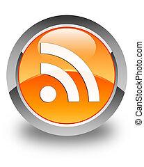 RSS icon glossy orange round button