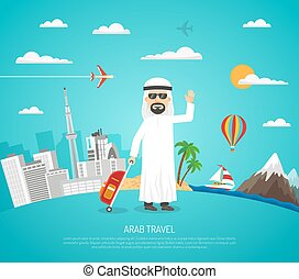 Poster Of Arab Travel - Cartoon travel poster with arab...