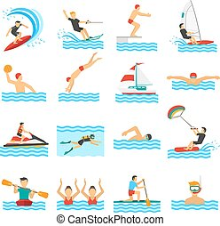 Water Sport Decorative Icons - Flat decorative icons set of...