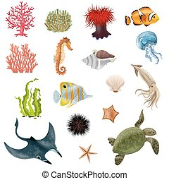 Sea Life Cartoon Icons Set - Set of sea life cartoon icons...