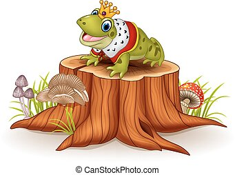 Cartoon funny frog king sitting - Vector illustration of...