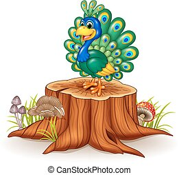 Cute peacock on tree stump - Vector illustration of Cute...