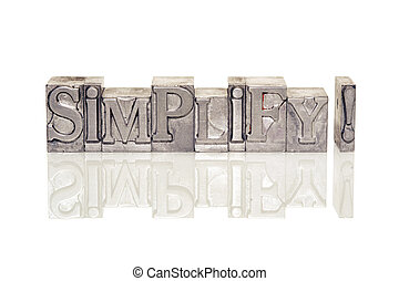 simplify exclamation made from metallic letterpress type on...