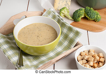Broccoli and Stilton Soup made with fresh broccoli and...