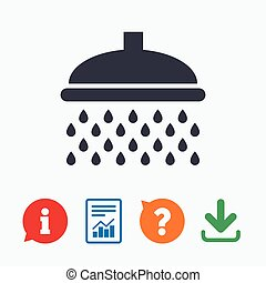 Shower sign icon Douche with water drops symbol Information...