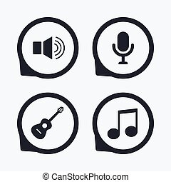 Musical elements icon. Microphone, Sound speaker