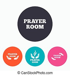 Prayer room icons Religion priest symbols - Prayer room...