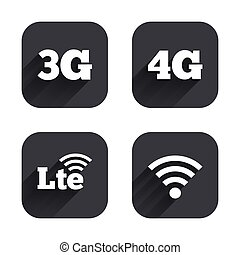 Mobile telecommunications icons 3G, 4G and LTE - Mobile...