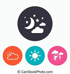 Cloud and sun icon Storm symbol Moon and stars - Weather...