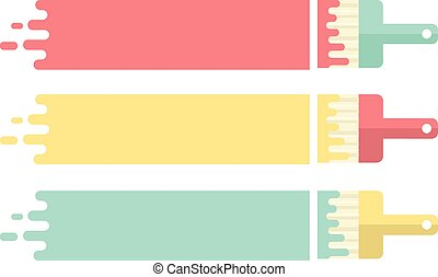 Paint Brushes - Vector Illustration of Paint Stroke and...