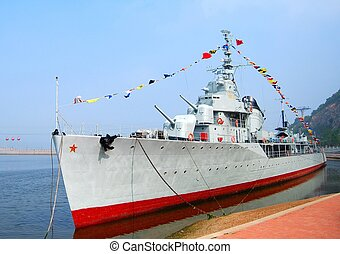 Destroyer. Dalian, China. Front view. Close up. Nobody.
