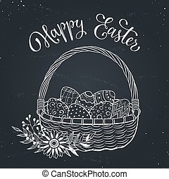 Easter basket - Happy Easter greeting card in sketch style....