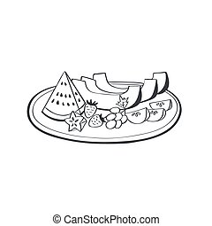 Print - Plate of fruits and berries in doodle style...