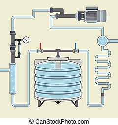 Scheme with water tank and pipes. Vector - Infographics...