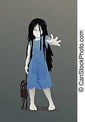 Ghost girl with toy - Illustration of Ghost girl with toy