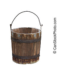 Empty wood water bucket - Horizontal front view of an empty...