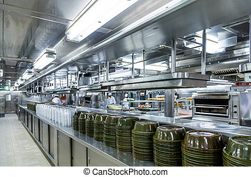 Serving Domes in Commercial Kitchen - Stacks of Empty...
