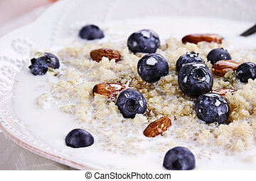 Quinoa and Blueberries - Cooked Quinoa with blueberries,...