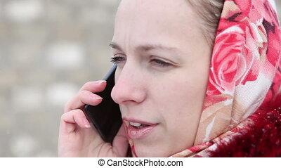 beautiful girl talking on the phone - beautiful girl in a...